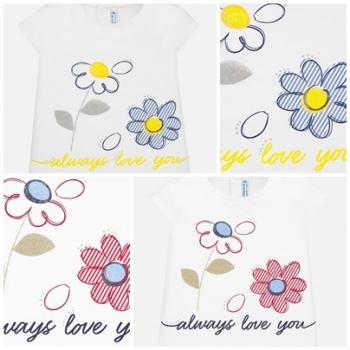 Camiseta manga corta flores bebé niña