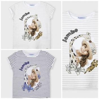 Camiseta manga corta rayas gráfica